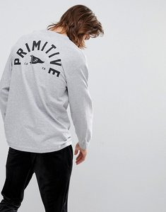 Read more about Primitive skateboarding long sleeve t-shirt with pennant back print in grey - grey