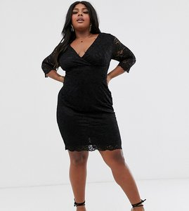 Read more about Paper dolls plus wrap front long sleeve lace pencil dress in black