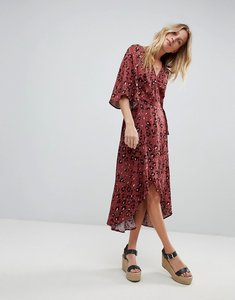 Read more about Minkpink leopard print wrap maxi dress with flutter sleeves - multi