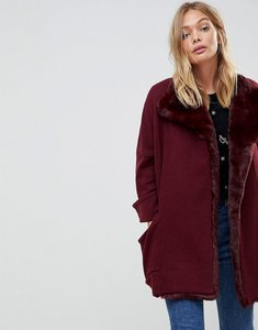 Read more about French connection whistler faux fur trim wool blend oversized jacket - biker berry