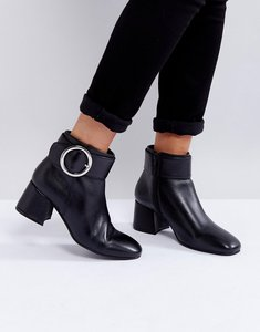 Read more about Park lane buckle mid heel leather boot - black leather