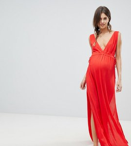 5973a13a8f37f Read more about Asos design maternity gathered waist crinkle high low hem  beach dress - red