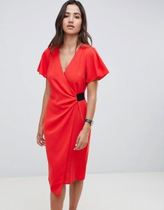 Read more about Asos design drape front midi pencil dress with elastic detail - red