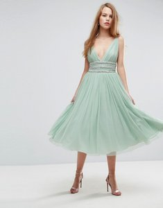 Read more about Asos tulle strappy embellished midi skater dress - mint