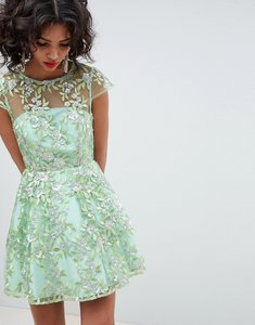 Read more about Asos edition sequin embroidered skater mini dress - green