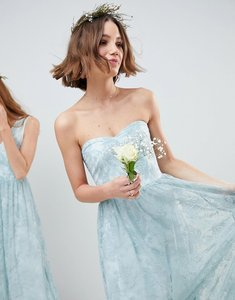 Read more about Asos design design bridesmaid delicate lace sheer insert bandeau maxi dress - pastel blue