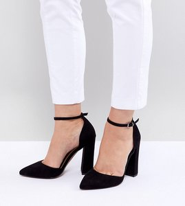 Read more about Asos design wide fit pebble pointed high heels - black