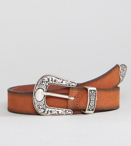 Read more about Asos slim leather western belt in tan suede and burnished edges - tan