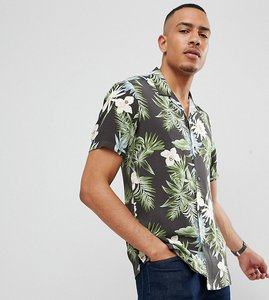 Read more about Asos design tall regular fit hawaiian shirt with revere collar in black - black