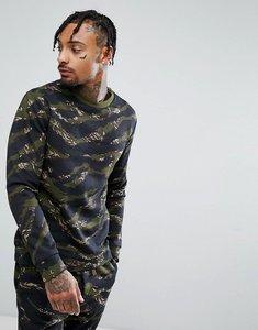 Read more about Bershka camouflage print sweatshirt in khaki - khaki