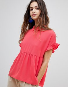 Read more about Y a s lulli peplum hem blouse - red