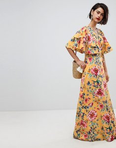 Read more about Vero moda floral maxi dress with frill sleeve - yellow
