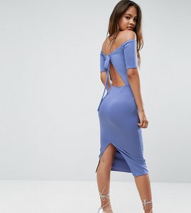 Read more about Oh my love tall bardot bow back midi dress - powder blue