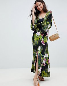 Read more about Asos design dark tropical print long sleeve plunge beach maxi dress - dark tropical