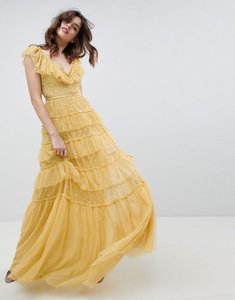 Read more about Needle thread layered maxi dress with ruffle neck detail in sunflower - sunflower
