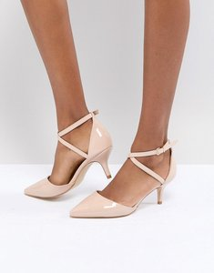 Read more about Raid lyla kitten heel court shoe - nude patent