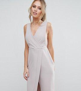 Read more about Closet v neck wrap front midi dress - grey