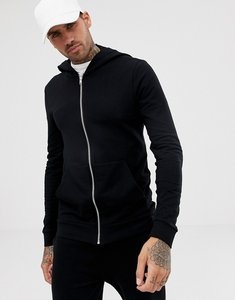 Read more about Asos muscle zip up hoodie in black - black