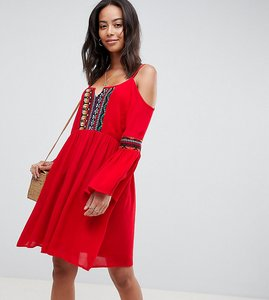 Read more about Glamorous tall cold shoulder swing dress with embroidery - red