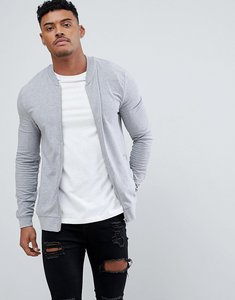 Read more about Asos lightweight muscle fit jersey bomber jacket in grey marl - grey marl