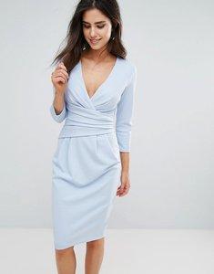 Read more about City goddess 3 4 sleeve pleat detail midi dress - powder blue 19