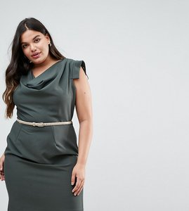 Read more about Closet london plus cowl front pencil dress - khaki