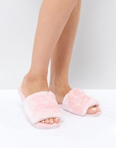 Read more about Truffle collection faux fur slide slipper - pale pink