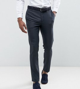 Read more about Asos tall wedding skinny suit trouser in blue micro woven texture - navy