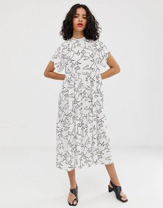 Read more about Asos design open back midi smock dress in squiggle print