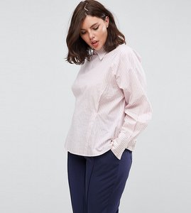 Read more about Asos curve stripe shirt with corset back 80s sleeve - pink white