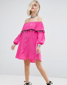 Read more about Glamorous off shoulder dress with pom pom trim - pink