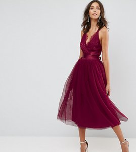 Read more about Asos tall premium lace top tulle midi prom dress with ribbon ties - fuschia