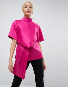 Read more about Asos white satin tuck detail top - magenta pink