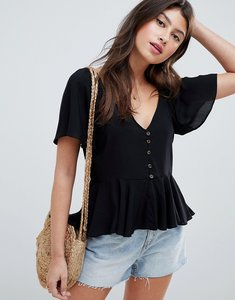 Read more about Asos design tea blouse with button front - black