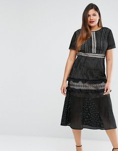 Read more about Truly you tiered premium lace midi dress - black