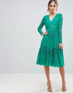 Read more about Asos pleated lace insert midi dress - emerald green