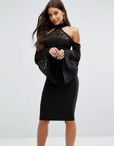 Read more about Vesper high neck midi dress with lace detail and exaggerated bell sleeve - black