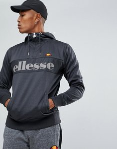 Read more about Ellesse poly tricot 1 4 zip hoodie with logo - grey