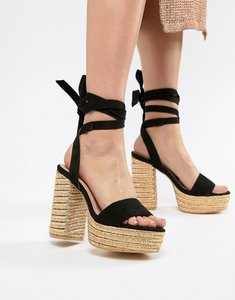 331693dad37 Read more about Prettylittlething ankle tie espadrille heeled sandals -  black