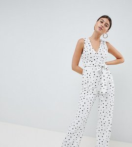 Read more about Prettylittlething polka dot tie front jumpsuit - white