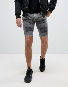 Read more about Siksilk extreme super skinny denim shorts in grey with distressing - grey