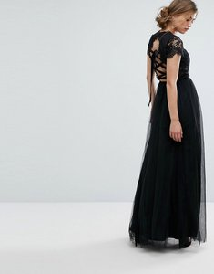 Read more about Chi chi london maxi tulle dress with lace up back - black