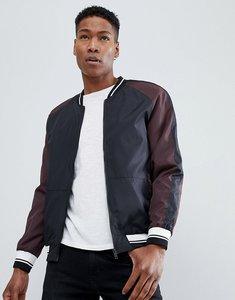 Read more about Brave soul contrast sleeve nylon bomber jacket - black