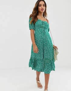 Read more about Asos design off shoulder midi dress with pephem in ditsy floral print