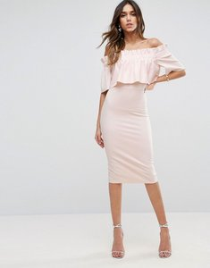 Read more about Asos scuba crepe ruffle bandeau midi dress - pale pink