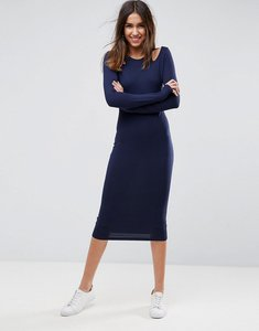 Read more about Asos midi cut out shoulder bodycon dress - navy