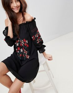 Read more about Parisian off shoulder embroidered dress - black