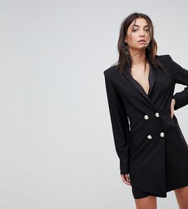 Read more about Asos tall ultimate mini tux dress with pearl buttons - black