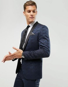Read more about Farah skinny tuxedo suit jacket in jacquard - navy