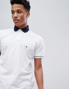 Read more about Tommy hilfiger contrast collar tipped pique logo polo regular fit in white - bright white